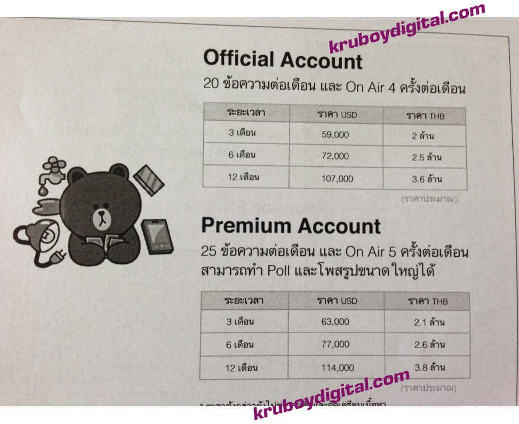 line official account Line Cost ค่าใช้จ่าย